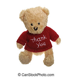 Cute Thank You - Thank you teddy bear isolated on white...