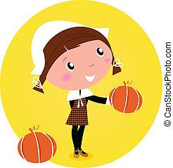 Cute Thanksgiving / Pilgrim Girl with pumpkin head - isolated on white. Vector cartoon Illustration.