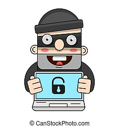 Cute Thief Character. Vector Cartoon Illustration. Bandit With Bag. Robber In Mask