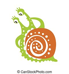 Cute thoughtful snail character, funny mollusk colorful hand drawn vector Illustration