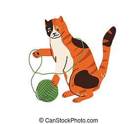 Cute three color cat playing with tangle yarn ball. Vector illustration in simple cartoon flat style. Isolated on white background