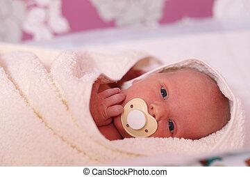Cute three month old baby boy