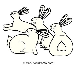 Cute three rabbits animals cartoons in black and white