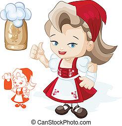 cute, thumbs-up, beergirl, dirndl, viser, unge, tegn, lys, rød