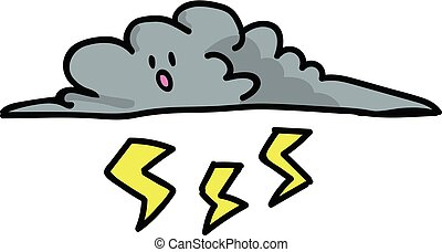 Cute thunder cloud with kawaii face cartoon vector illustration motif set. Hand drawn lightning bolt stormy weather blog icons. Nature graphics.