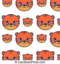 cute tiger adorable characters pattern