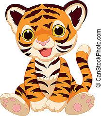 cute, tiger, caricatura