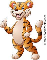 Cute tiger cartoon giving thumb up