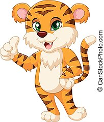 Cute tiger cartoon giving thumbs up - vector, tiger,...