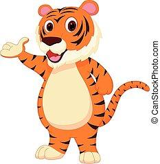 Cute tiger cartoon presenting - Vector Illustration of Cute...