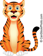 Cute tiger cartoon sitting - Vector illustration of Cute...