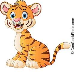 Cute tiger cartoon sitting