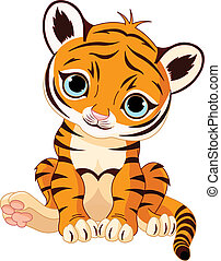 Cute tiger cub - A cute character of sitting tiger cub