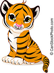 A cute character of sitting tiger cub.