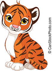 Cute tiger cub - Illustration of cute little tiger