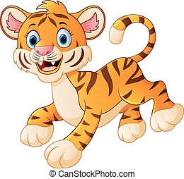 cute tiger cub is smiling