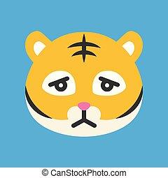Cute Tiger emoticon, flat style vector illustration