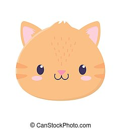 cute tiger face animal cartoon isolated icon