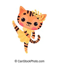 Cute Tiger in Ballerina Dress and Twig on Head Dancing Vector Illustration