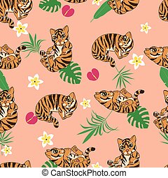 cute tiger kittens seamless pattern, cartoon drawn funny animals, wild cat kitten, with abstract flowers on light background, editable vector illustration