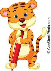 cute, tiger, penc, segurando, caricatura, vermelho