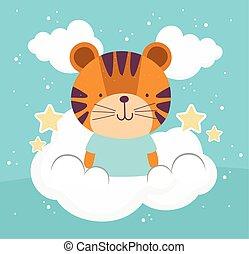 cute tiger sky