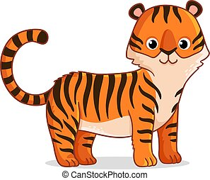 Cute tiger stands on a white background.