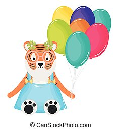 cute tiger with balloons helium in birthday party