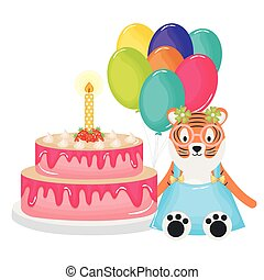cute tiger with cake and balloons helium in birthday party