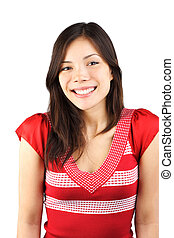 Cute timid smiling woman