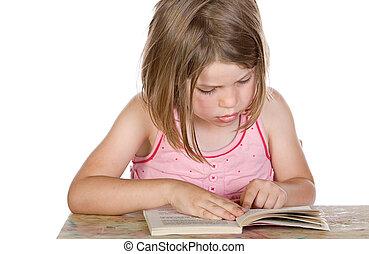 cute, tiro, dela, jovem, livro, criança, leitura