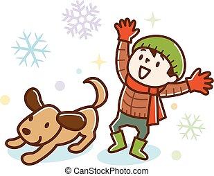 cute, tocando, cão, neve, menino
