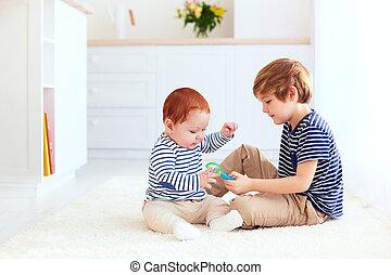 cute, tocando, irmão, junto, lar
