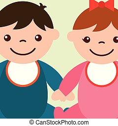 cute toddler boy and girl holding hands