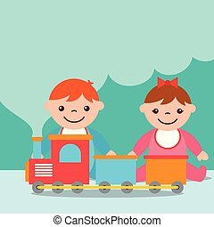 cute toddler boy and girl with train wagons toy vector...