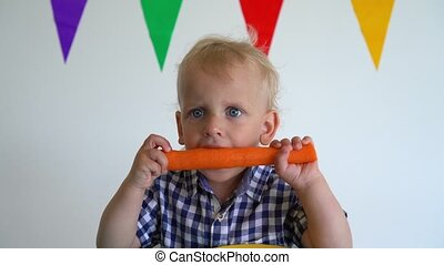 Cute toddler boy holding carrot with both hands and bite it....