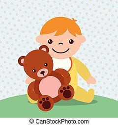cute toddler boy with bear teddy toy