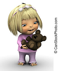 Cute toddler girl holding teddy bear.