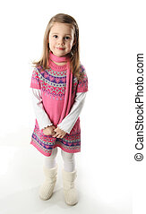 Cute toddler girl wearing a scarf and dress