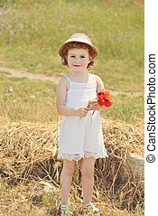 cute toddler with flowers