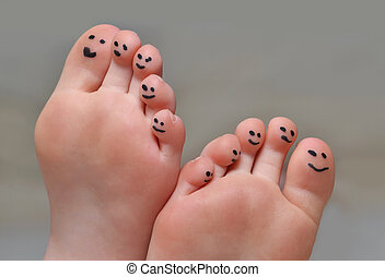 Cute Toes - little toes with smiley faces