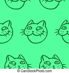 Cute tomcat head pattern. Vector illustration. Cheerful pet...