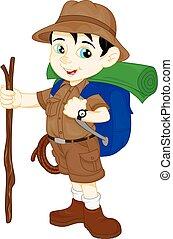 cute, tommelfinger, dreng, oppe, hiker, cartoon