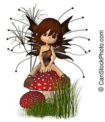 Cute Toon Autumn Fairy on Toadstool - Cute toon fairy in...