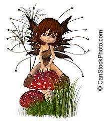Cute Toon Autumn Fairy on Toadstool - Cute toon fairy in...