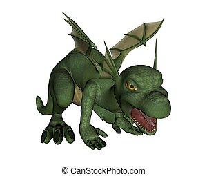Cute Toon Baby Dragon - growling