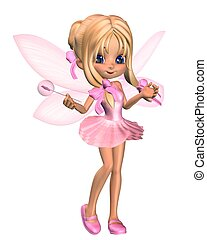 Cute toon ballerina fairy in a pink tutu with gossamer wings and a wand, standing, 3d digitally rendered illustration