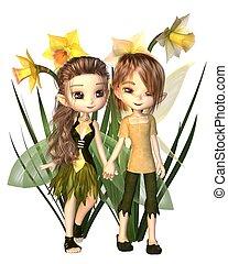 Cute Toon Daffodil Fairy Boy and Girl