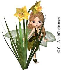 Cute Toon Daffodil Fairy, Skipping