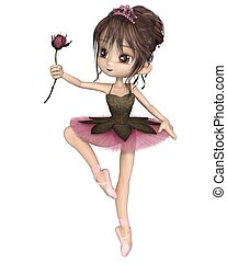 Cute Toon Pink Rose Ballerina - Cute toon ballerina wearing...